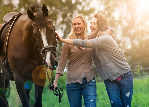 Blended Family: Daughter and Step-Mother with Horse