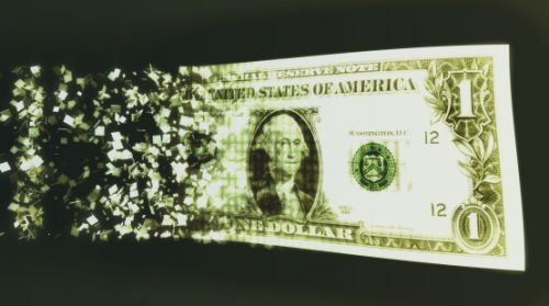 Digital Assets - Dollar Bill Breaking into Pixels