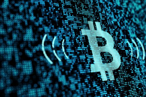 blue bitcoin icon on digital asset technology background