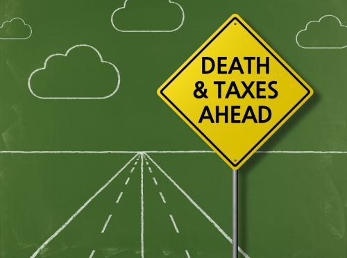 sign for death and taxes ahead